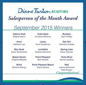 Diane Turton, Realtors  Announces  September, 2015  Salesperson of the Month