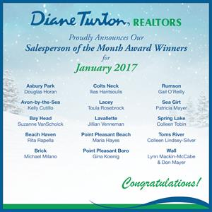 Diane Turton, Realtors  Announces  January, 2017  Salesperson of the Month Award Winners